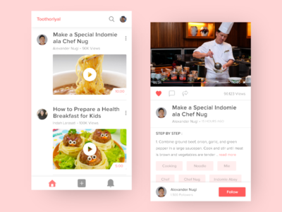 #Exploration - Toothoriyal App Concept foodie food minimal ux ui mobile concept tutorial chef cook app