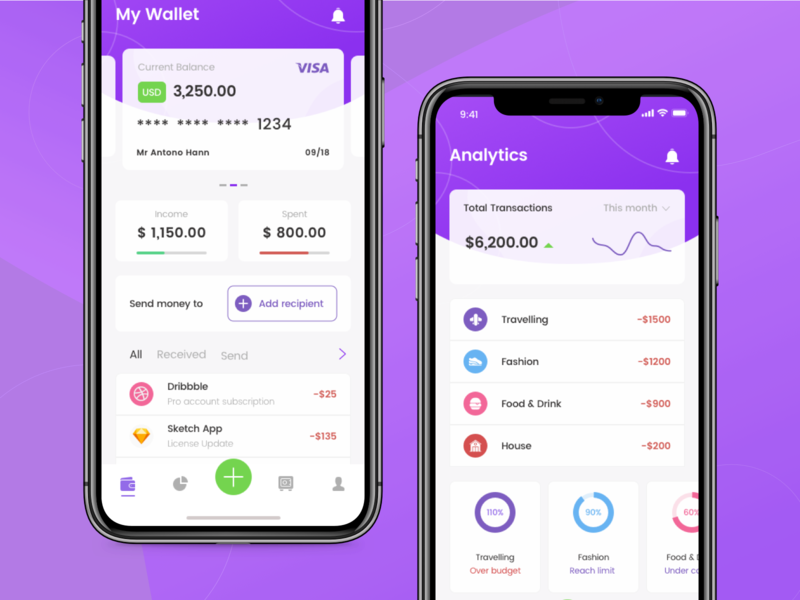 Duit - Finance App saving business finance business progress transaction wallet money finance financial finance app apps app purple interface ux concept design simple ui