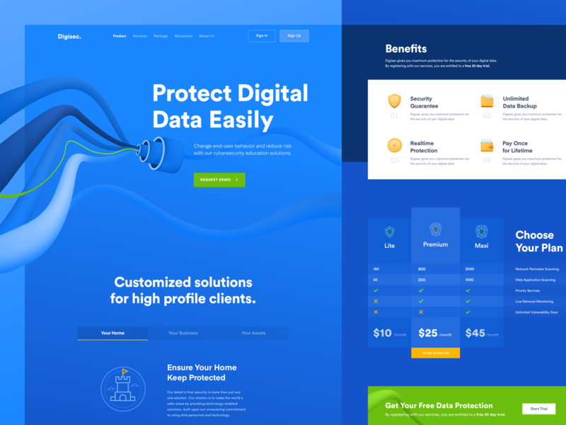 Digisec - Digital Data Security Website product service product service yellow green blue data security digital data security digital data digital protection security data interface concept ux ui simple design website