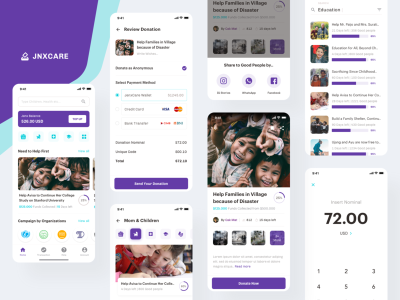 JenxCare - Donation and Charity Apps sebo good people nice people dribbble digital crowdfunding campaign crowdfunding charity donation apps app purple interface concept ux design simple ui