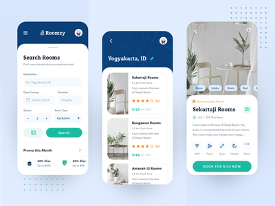 Roomzy -  Room Booking Apps experience vacation villa rental app design ux interface tosca orange blue rooms holiday traveling app apps bookings hotel simple ui