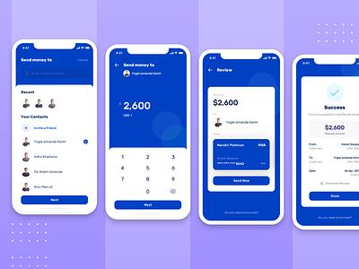 How to : Send Money   Banky Apps dashboard send money money transfer send bank finance envatomarket elements envato flow wallet saving money app concept interface ux design simple ui