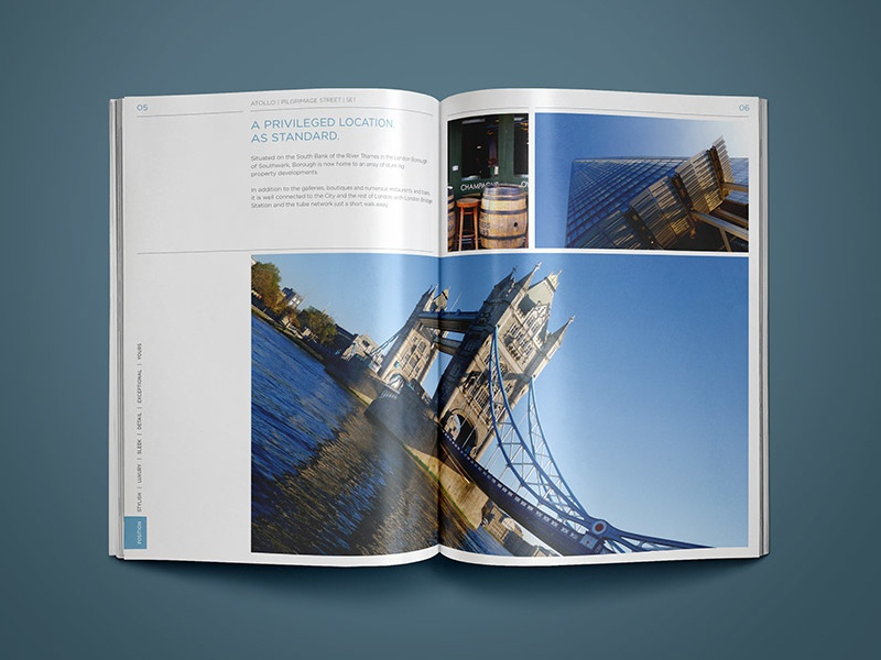 Property Construction Brochure Design photo neutral blue page property grid layout london real estate brochure