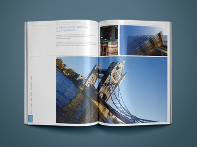 Property Construction Brochure Design photo neutral blue page property grid layout london real estate brochure
