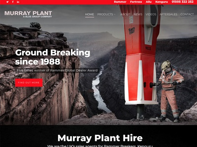 Website Work-In-Progress homepage web website photography machine corporate strong construction black red