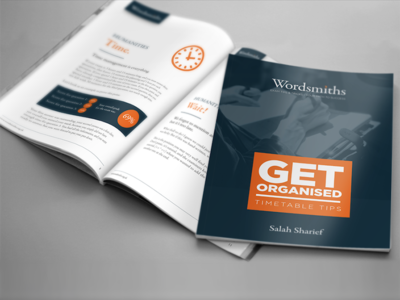 Booklet Design icon blue orange grid layout page brochure book