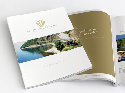 Luxury Rail Brochure Design prestige luxury minimal white gold foil pantone stock paper print brochure