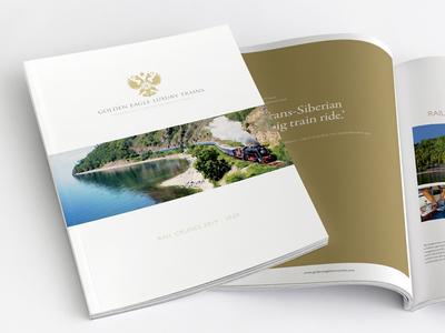 Luxury Rail Brochure Design prestige luxury minimal white gold foil pantone stock paper print brochure