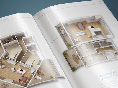 Property Brochure Design   A4 print typography apartment house minimal white cgi floorpan property real estate