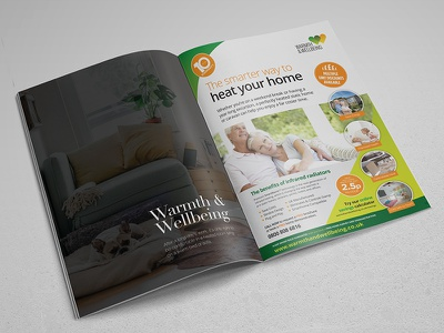 Magazine Advert Design a4 green typography layout page marketing advert magazine