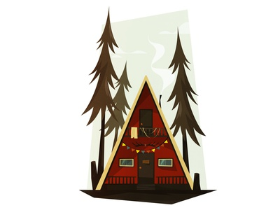 cabine decor outdoor travel natural wood home house shadow red pine forest nature cozy texture vintage style retro illustration cartoon vector
