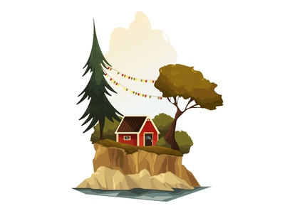 red house natural lonely simple place wood forest norway scandinavia nature summer shadow cozy design texture vintage style retro illustration cartoon vector