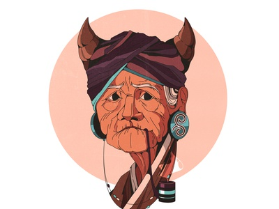 old witch illustrator 2d avatar ethnic horns outline portrait smoke old lady witch shadow woman character texture vintage style retro illustration cartoon vector