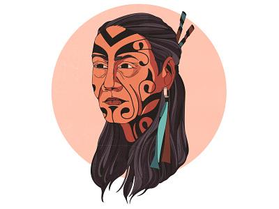 maori earrring new zealand 2d portrait man tattoo ethno ethnic maori avatar shadow character design texture vintage style retro illustration cartoon vector