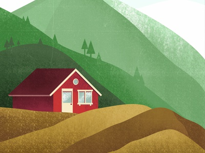 carpathians red house pines wild house red home cabin mountain carpathian nature shadow cozy design texture vintage style retro illustration cartoon vector