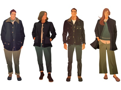 barbour people illustrator 2dart 2d man woman portrait english england brand barbour shadow character design texture vintage style retro illustration cartoon vector