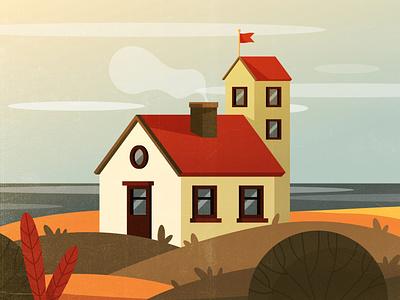 Village cozy home graphic design countryside town window outdoor colorful autumn sky sea rustic village vintage texture style retro illustration cartoon vector