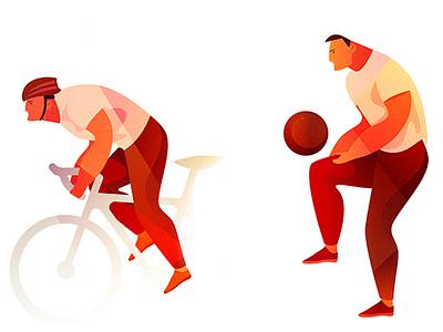 sport guys retro design geometic bycicle fotball man lifestyle sport shadow summer texture style vintage character illustration cartoon vector