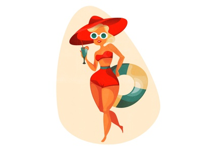 holiday shape curvy glamour glasses swimwear sun 2d girl woman summer cozy design character texture vintage style retro illustration cartoon vector