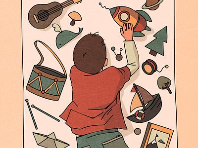 child child boy guitar boat christmas tree whale ukulele rocket wooden toys cozy design character texture vintage style retro illustration cartoon vector