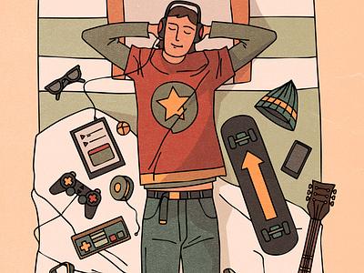 tenageer hobby music warm fun portrait rock adult boy teenager shadow cozy design character texture vintage style retro illustration cartoon vector