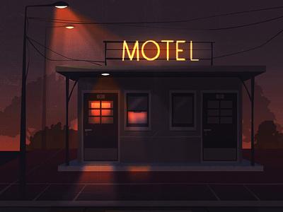 night door sigh fire hotel darkness street horror light night motel shadow cozy design texture vintage style retro illustration cartoon vector