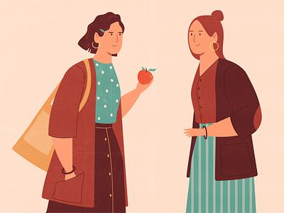 Girls 2d fruit portrait cute friends dialogue food eco couple oversize hipster woman character texture vintage style retro illustration cartoon vector
