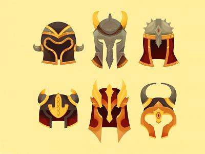 helmets 2d art stone material metal cute fairytale fantasy art game warrior war armor helmets fantasy ui design texture vintage illustration cartoon vector