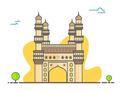 Charminar Illustration vector strokes india illustration hyderabad design city charminar building