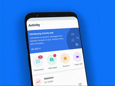 Activity tab on the Educator app