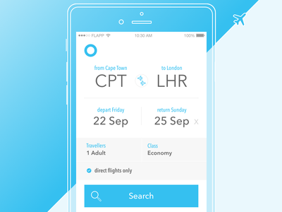 iOS Flight Search Screen search flights booking design ux ui ios app mobile