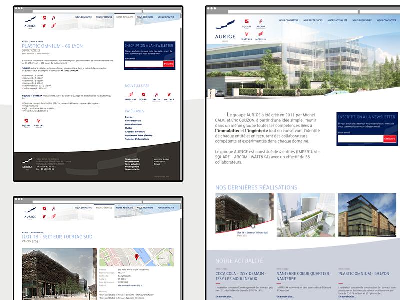 Aurige Redesign css html development wordpress logo branding redesign website web