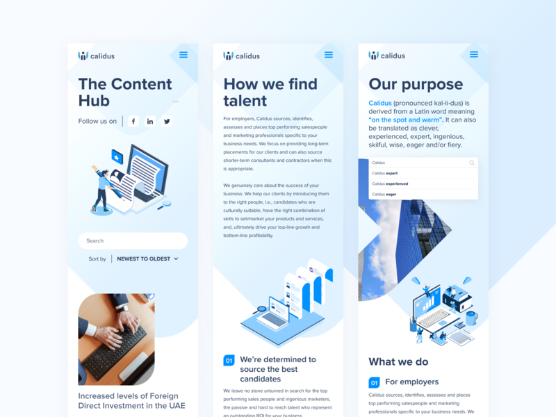 Calidus blue website ui  ux design webdesign web ui uidesign design