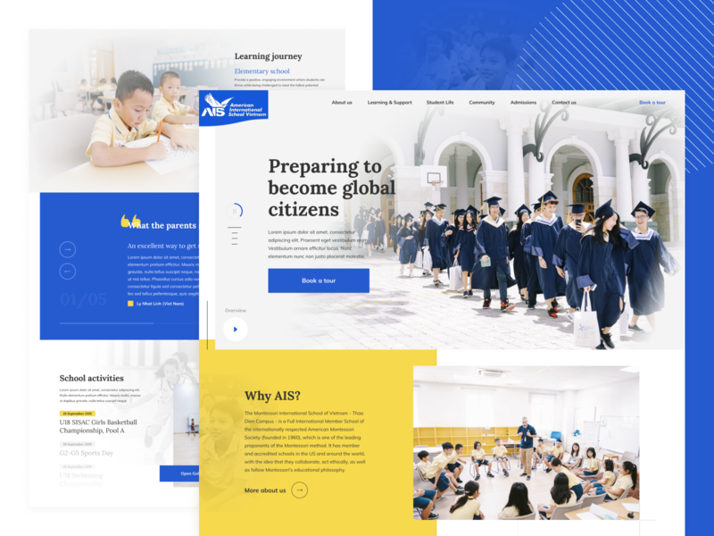 American International School VN school education yellow design blue concept website ui ui  ux design webdesign web uidesign