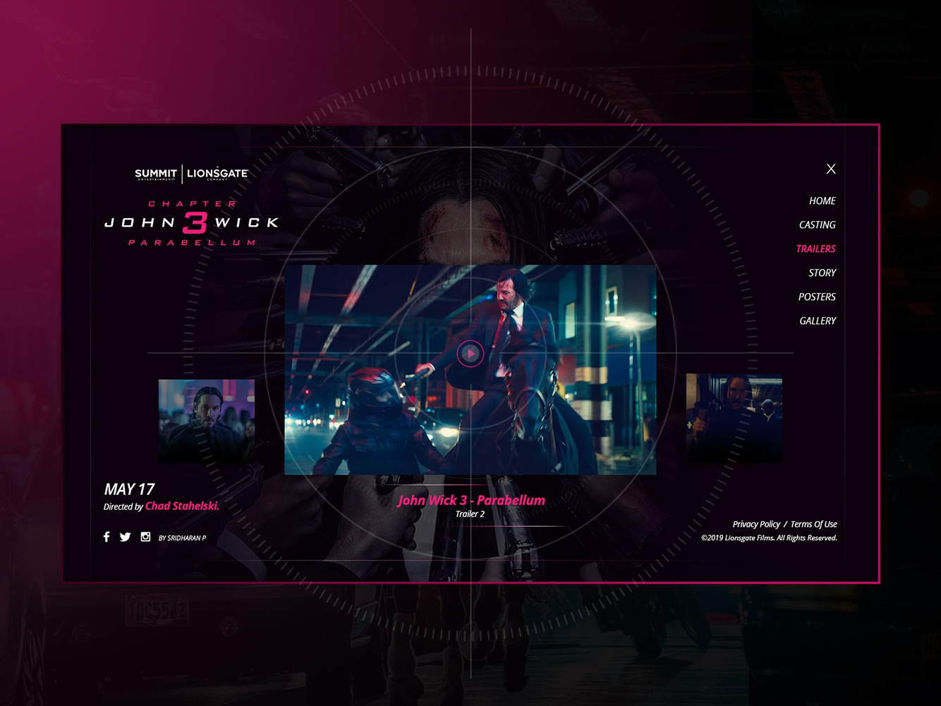John Wick 3 - Website - Trailers Screen by Sridharan P | Dribbble