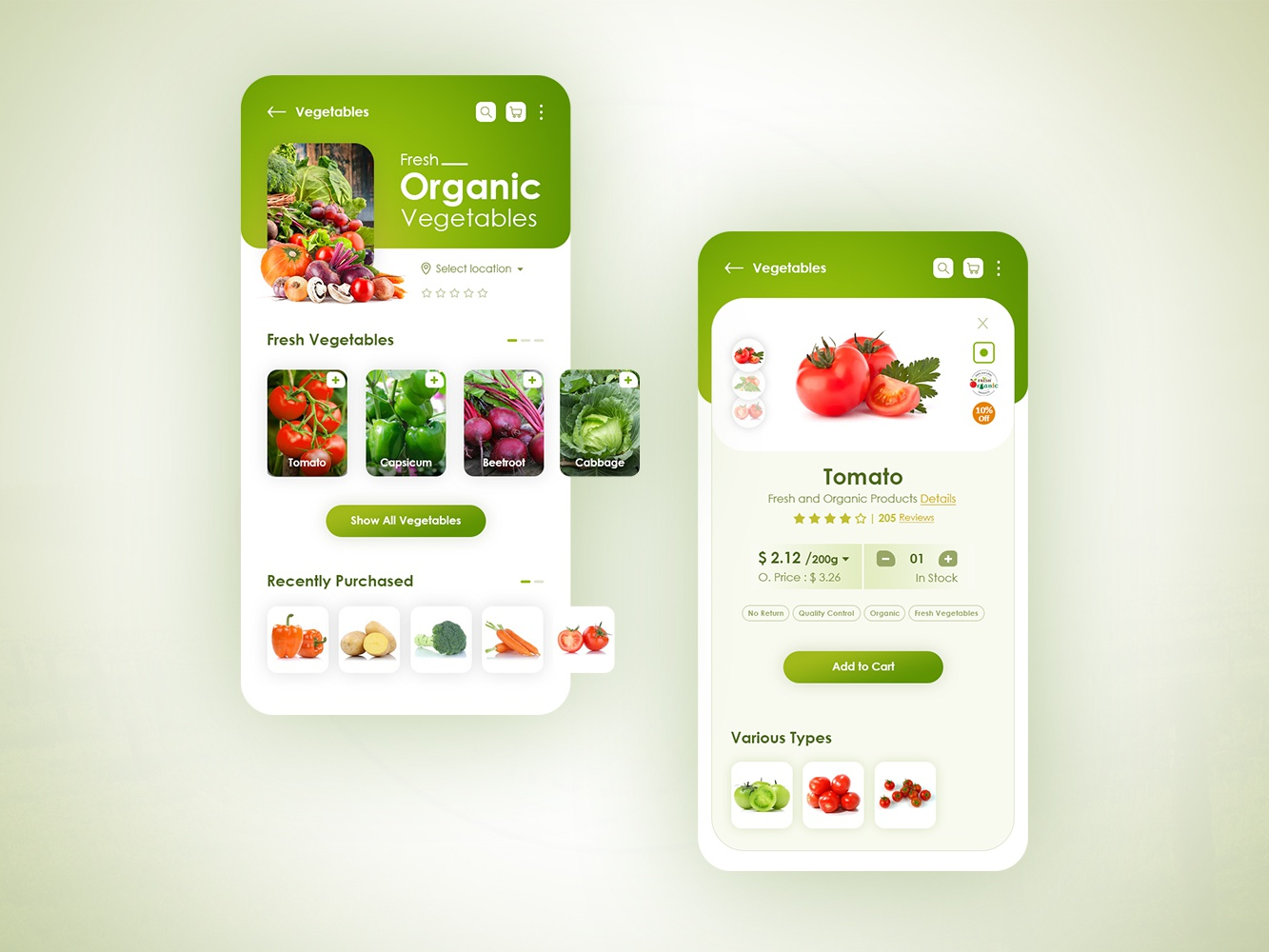 Organic Product App - Clean Design product list view product details uiux mobile application corporate icon illustration android design ux ui ios logo branding mobile app clean design