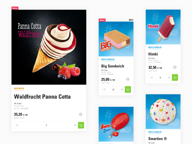 Product Tiles for Froneri Online Shop user experience booking website userinterface webdesign user interface ui interface design ux