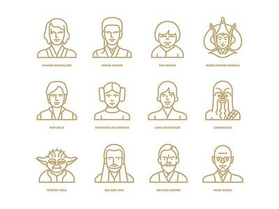 Star Wars flat icon project / Characters icon flat chewbacca yoda han solo princess leia luke skywalker anakin wars star starwars