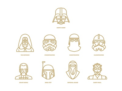 Star Wars flat icon project / Characters part2 icon flat clonetrooper the emperor snowtrooper stormtrooper darth vader wars star starwars