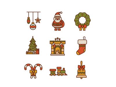 Free 50 Christmas icons santa set. new year icon flat christmas download free