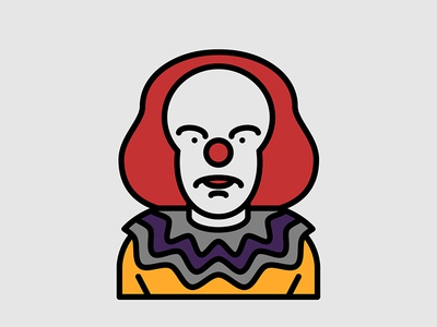 Horror Movie Characters - Pennywise icon flat clown pennywise character movie horror