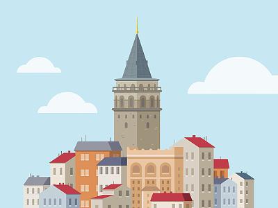 Galata Tower building illustration icon flat tower galata turkish turkey istanbul