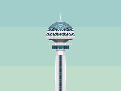 Atakule illustration icon flat building tower atakule turkish turkey ankara