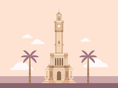 Izmir Clock Tower  illustration icon flat building tower clock turkish turkey izmir