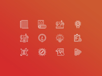 Textile works icon set