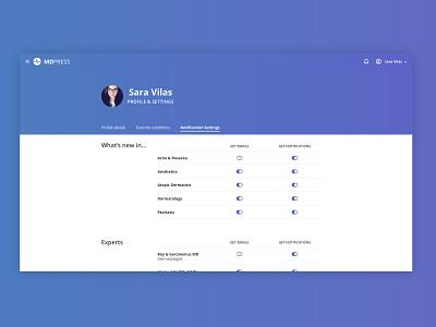 Profile & Settings user management preferences complex healthtech healthcare desktop emails notifications blue gradient simple profile page settings profile