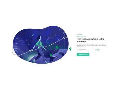 Designer To Leader hero course green galaxy blue illustration