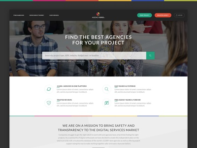 Landing Page simple modern clean icons benefits landing page