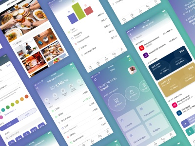 iOS Open Banking App gradient charts data data visualization dashboard fintech finance modern clean middle east open banking