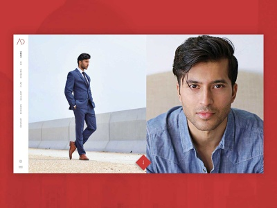 Personal Site for Adi Chugh (Actor) split screen split minimalistic webflow model photography portfolio personal actor branding logo ui modern clean